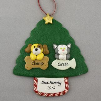 Two Pets on Tree Personalized Christmas Ornament