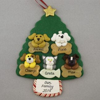 Five Pets on Tree Personalized Christmas Ornament
