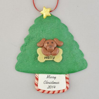 Dog on Tree Personalized Christmas Ornament