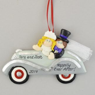 Bride (Blonde) and Groom Just Married Personalized Christmas Ornament