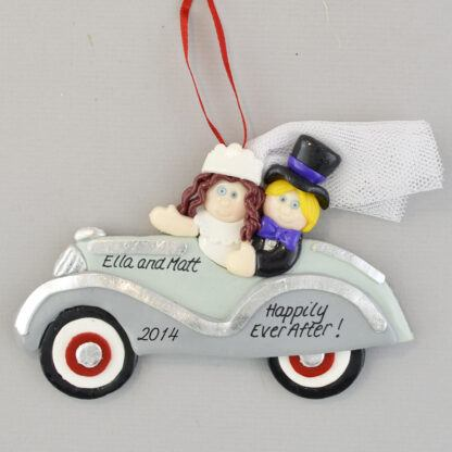Bride (Brunette) and Groom Just Married Personalized Christmas Ornament