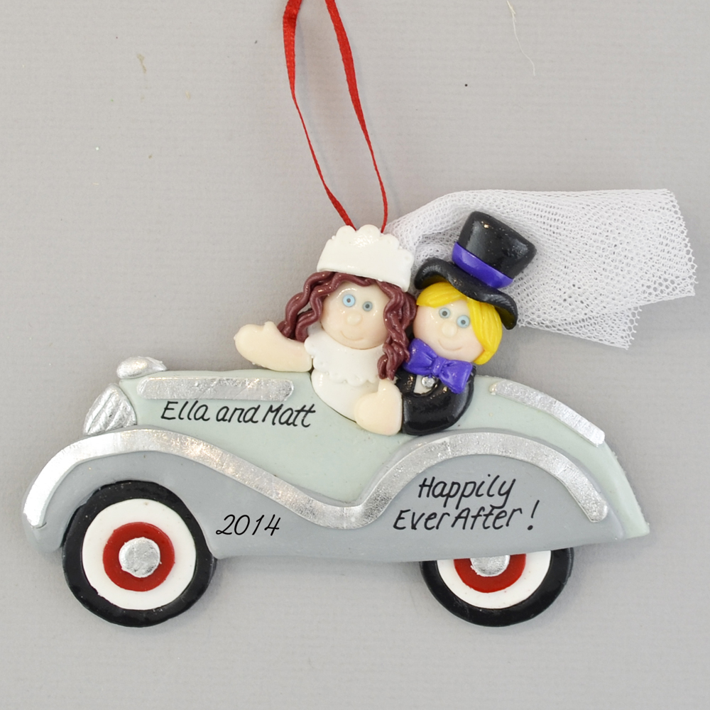 bride brunette and groom just married personalized christmas ornament