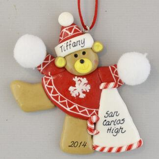 Cheerleader in Red Personalized Christmas Ornament