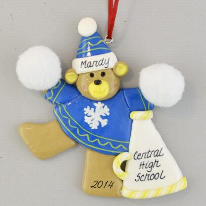 Cheerleader in Blue Personalized Christmas Ornament
