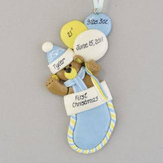 Baby Boy's First Christmas Stocking personalized Ornaments