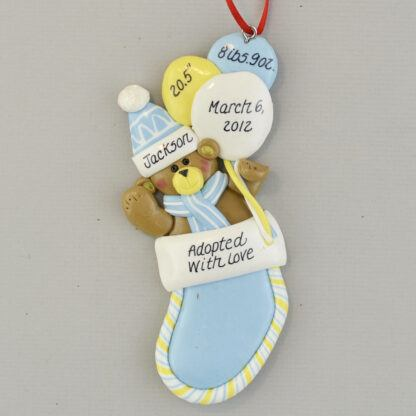 Adopted with Love (Boy's) First Christmas Personalized Ornament