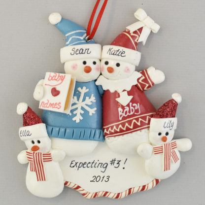 Expecting a Third Baby Personalized Christmas Ornament