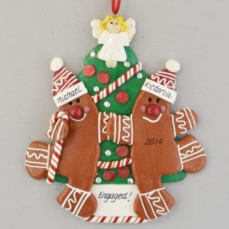Engaged Gingerbread Couple Personalized Christmas Ornament