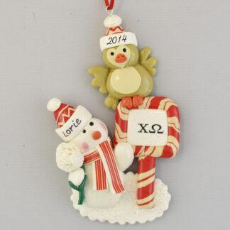 Snowman with Chi Omega Owl Personalized christmas Ornaments