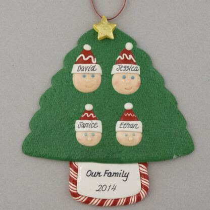 Family Tree of 4 Personalized Christmas Ornament