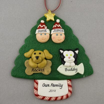 Couple with 2 Pets Personalized Christmas Ornament