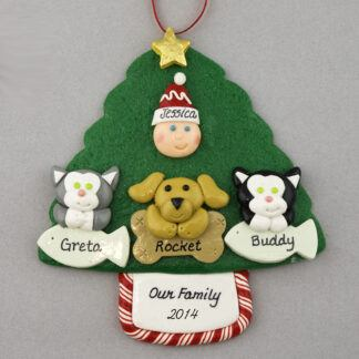 My 3 Pets Personalized Christmas Ornament