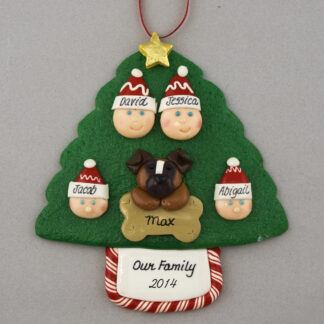 Our Family of 4 and 1 Pet Personalized Christmas Ornament
