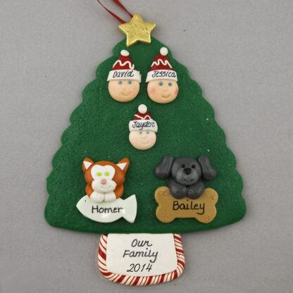 Our Family of 3 with 2 Pets Personalized Christmas Ornament