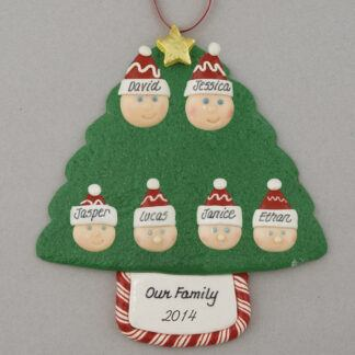 Family Tree of 6 Personalized Christmas Ornament