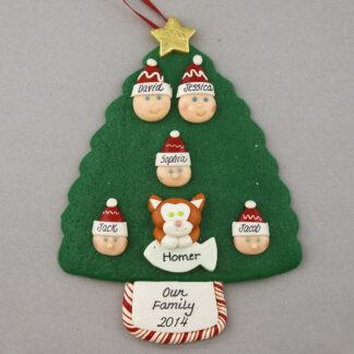 Our Family of 5 with 1 Pet Personalized Christmas Ornament
