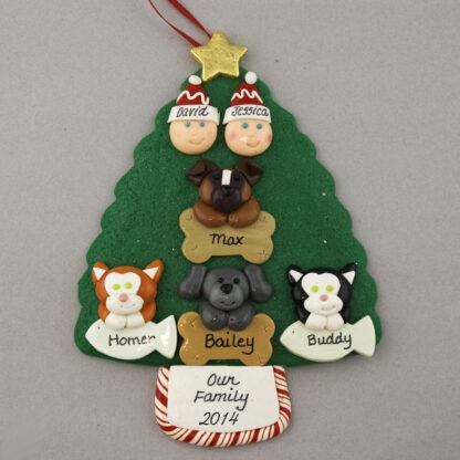 Couple with 4 Pets Personalized Christmas Ornament