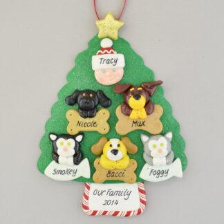 My 5 Pets Personalized Christmas Ornament