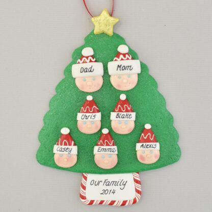 Family Tree of 7 Personalized Christmas Ornament
