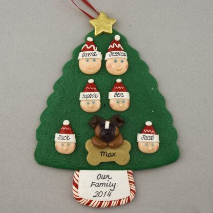 Our Family of 6 with 1 Pet Personalized Christmas Ornament