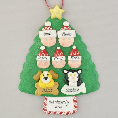 Our Family of 5 with 2 Pets Personalized Christmas Ornament