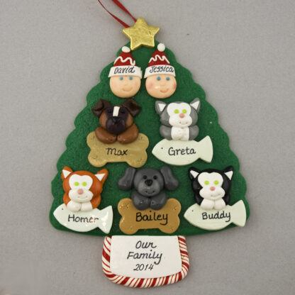 Couple with 5 Pets Personalized Christmas Ornament