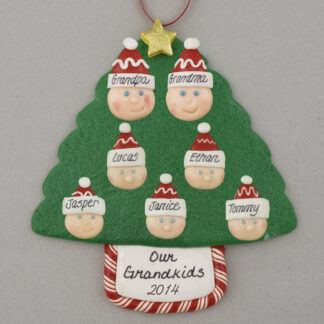 Grandparents with 5 Personalized Christmas Ornaments
