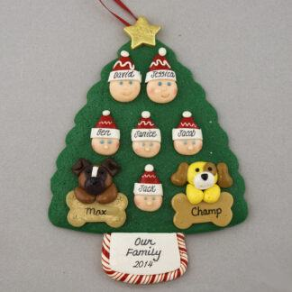 Our Family of 6 with 2 Pets Personalized Christmas Ornament
