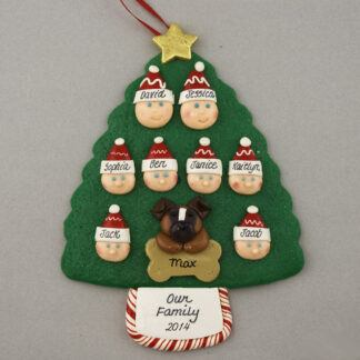 Our Family of 8 with 1 Pet Personalized Christmas Ornament