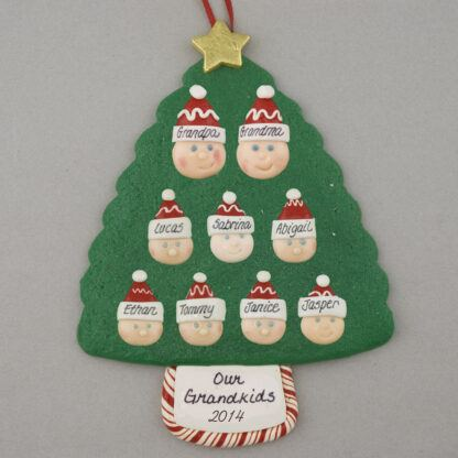 Grandparents with 7 Personalized Christmas Ornament