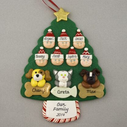 Our Family of 7 with 3 Pets Personalized Christmas Ornament