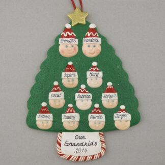 Grandparents of 9 Personalized Christmas Ornaments
