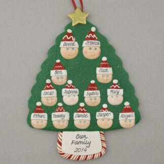 Family Tree of 13 Personalized Christmas Ornament