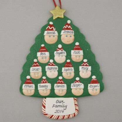 Family Tree of 14 Personalized Christmas Ornament