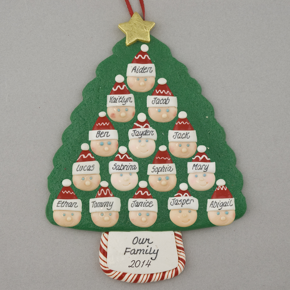 Family Tree of 15 Personalized Christmas Ornament