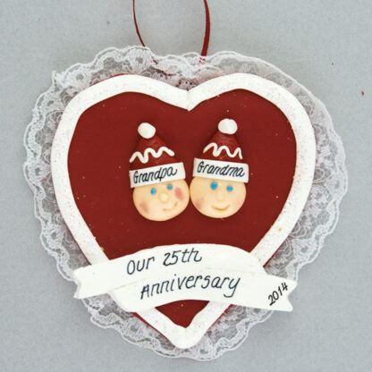 Couple's Anniversary Heart Personalized Ornament