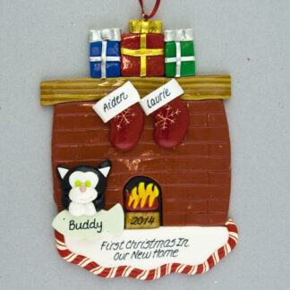 Fireplace for two and one pet personalized ornament
