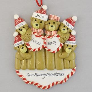 Bear Couple with 4 Children personalized ornament