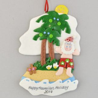 Tropical Santa Personalized Ornament