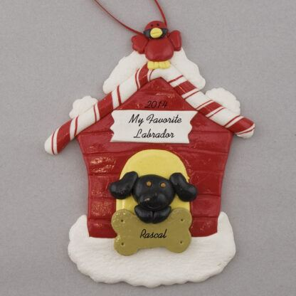 Black Lab in Dog House Personalized christmas Ornaments