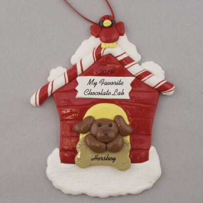 Chocolate Lab in Dog House Personalized christmas Ornaments