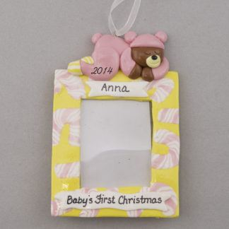 Baby Girl's First Christmas personalized Photo Frame Ornaments