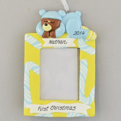 Baby Boy's First Christmas Personalized Photo Frame Ornaments