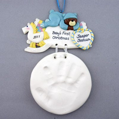 Baby Boy Handprint Personalized Christmas Ornaments