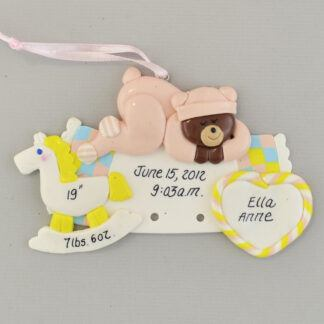 Baby Girl rocking horse and teddy bear Personalized Christmas Ornaments