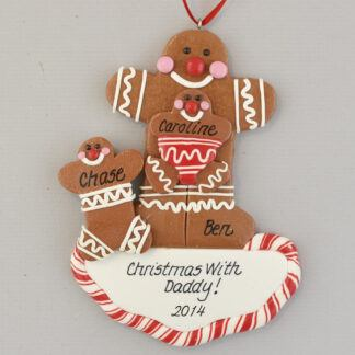 Single Gingerbread Parent with Two Children Personalized christmas Ornaments