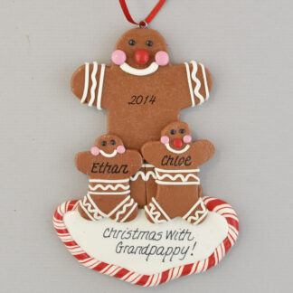 Gingerbread Grandpa of Two Personalized christmas Ornaments
