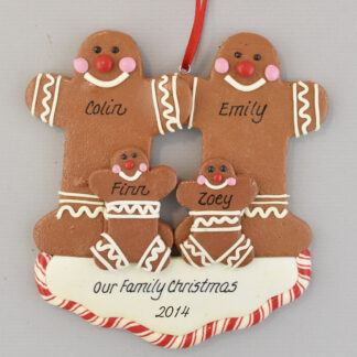 Gingerbread Family of Four Personalized christmas Ornaments