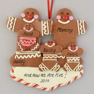 Gingerbread Family of Five Personalized christmas Ornaments