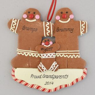 Gingerbread Grandparents of One Personalized Christmas Ornaments